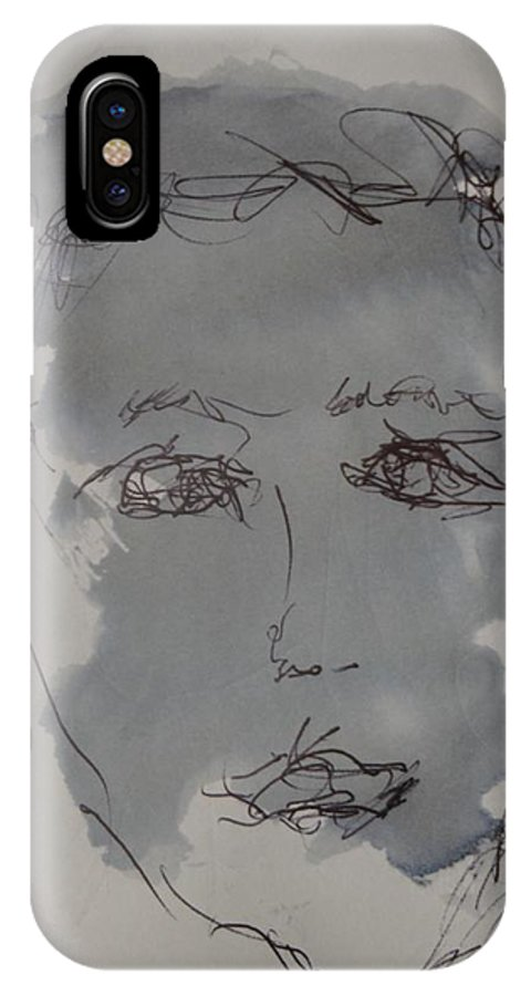 Doodle IPhone X Case featuring the drawing Composition 54 by Edward Wolverton