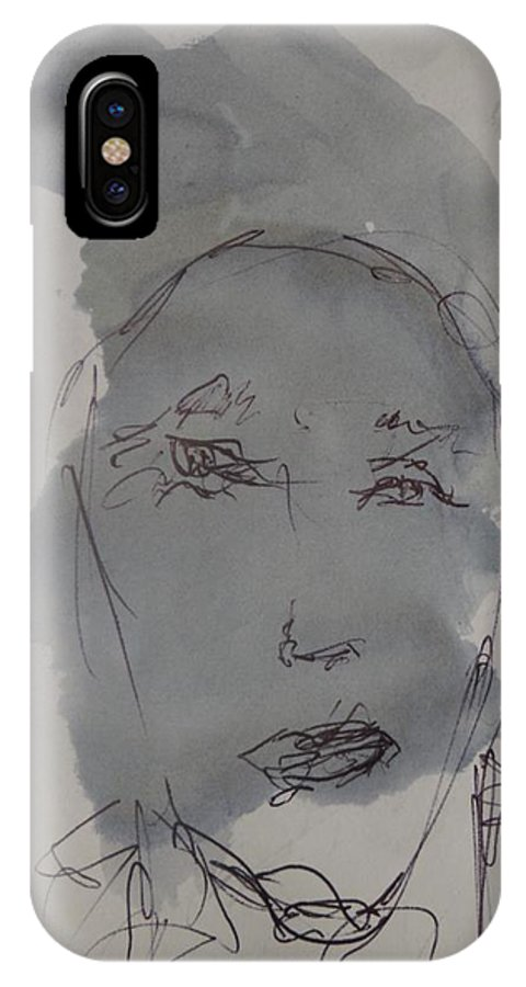 Doodle IPhone X Case featuring the drawing Composition 56 by Edward Wolverton