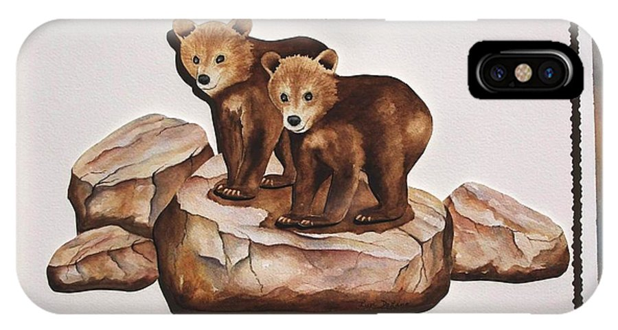 Bears IPhone X Case featuring the painting 3-d Bearizona Bear Babies by Lyn DeLano