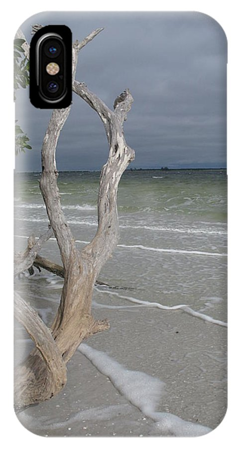 Beach IPhone X Case featuring the photograph Driftwood On The Beach by Christiane Schulze Art And Photography