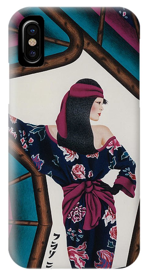 Japanese Fashion Art IPhone X Case featuring the mixed media Fashion Art by Michael Andrew Frain