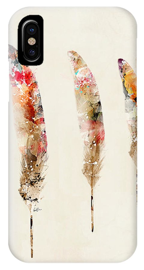 Feathers IPhone X Case featuring the painting 3 Feathers by Bri Buckley