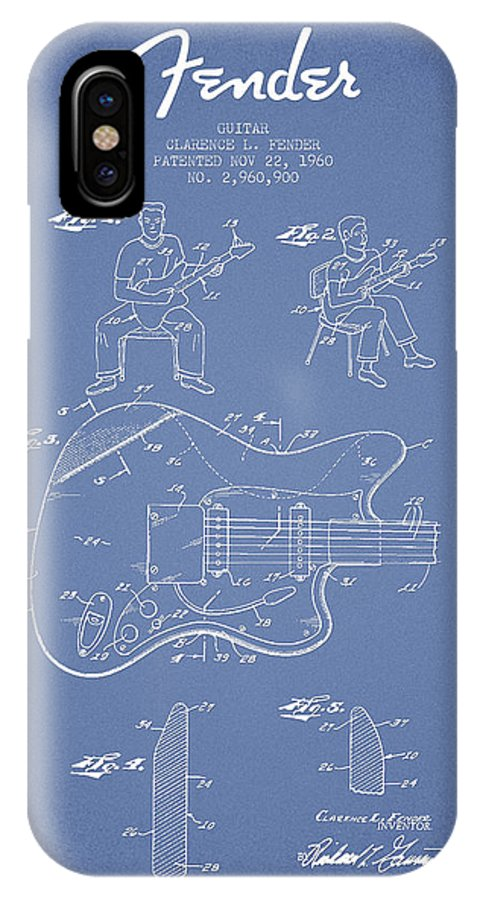 Fender IPhone X Case featuring the digital art Fender Guitar Patent Drawing From 1960 by Aged Pixel