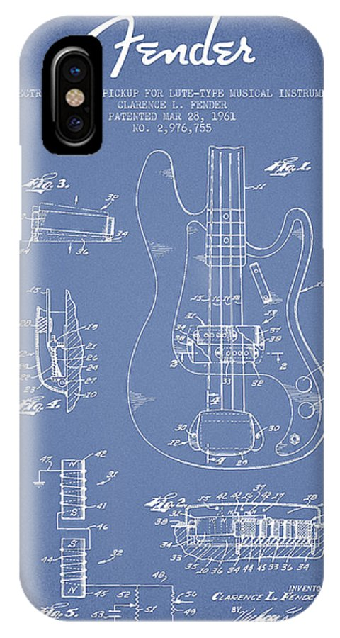 Fender IPhone X Case featuring the digital art Fender Guitar Patent Drawing From 1961 by Aged Pixel