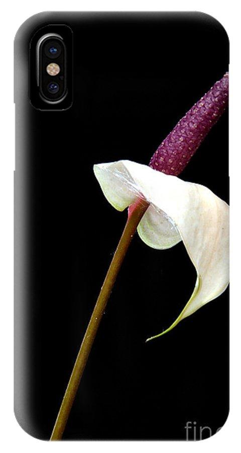 Anthurium IPhone X Case featuring the photograph Flamingo Flower by Antoni Halim