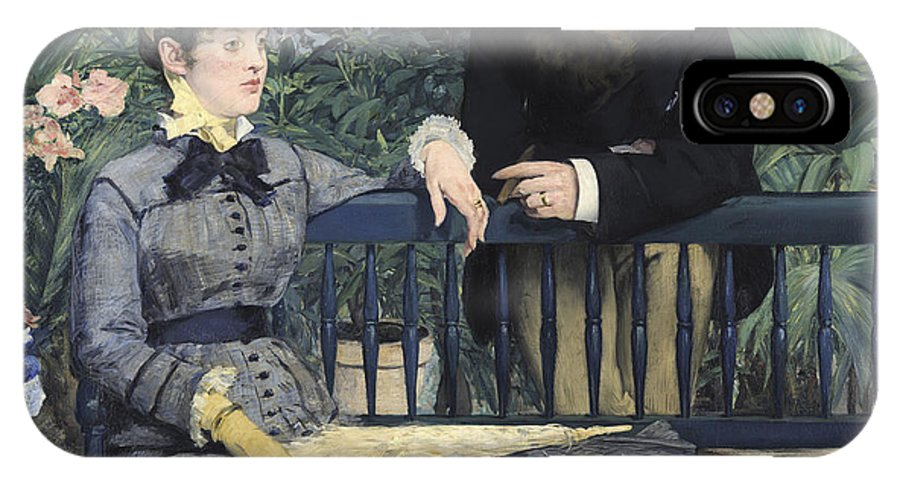 Edouard Manet IPhone X Case featuring the painting In The Conservatory by Celestial Images