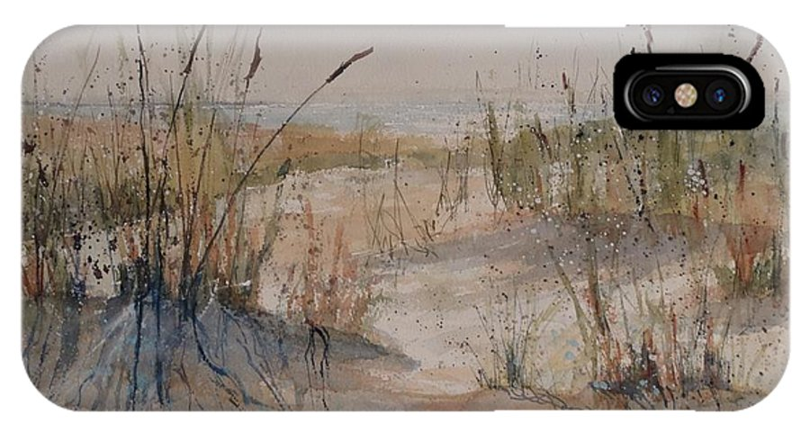 Lake Michigan IPhone X Case featuring the painting Lake Michigan Dune by Sandra Strohschein