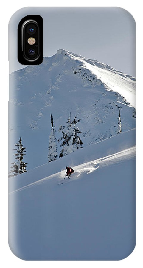 Adventure IPhone X Case featuring the photograph Man Skiing, Valhalla Mountain Touring by Whit Richardson