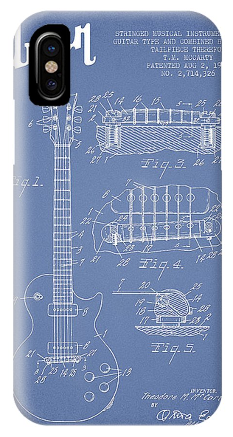 Gibson IPhone X Case featuring the digital art Mccarty Gibson Les Paul Guitar Patent Drawing From 1955 - Light Blue by Aged Pixel