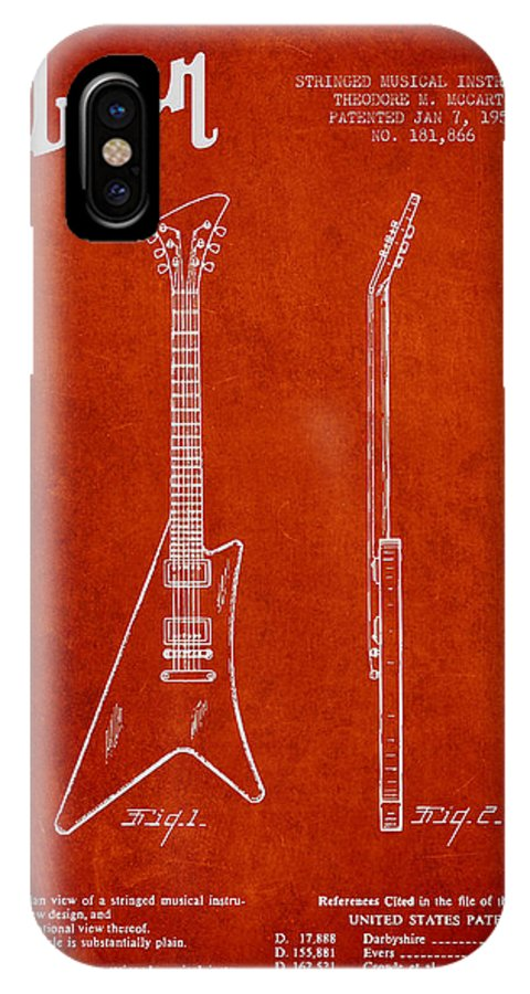Gibson IPhone X Case featuring the digital art Mccarty Gibson Stringed Instrument Patent Drawing From 1958 - Red by Aged Pixel