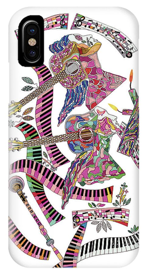 Abstract Art IPhone X Case featuring the painting Musical Minds by Eric Devan