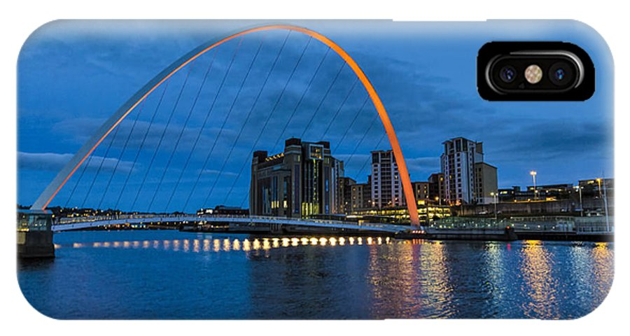 Newcastle IPhone X Case featuring the photograph Night On The Tyne by Trevor Kersley