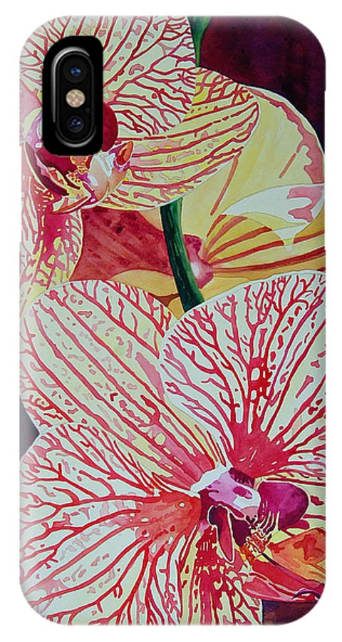 Orchids IPhone X Case featuring the painting Orchids by Terry Holliday