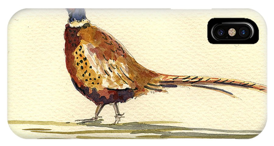 Pheasant IPhone X Case featuring the painting Pheasant by Juan Bosco