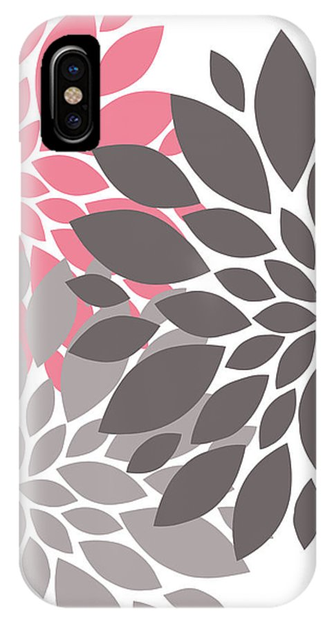 Pink IPhone X / XS Case featuring the digital art Pink Gray Peony Flowers by Voros Edit
