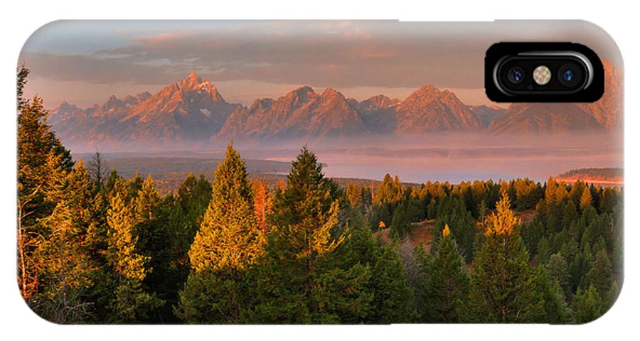 The Tetons IPhone X / XS Case featuring the photograph Signal Mountain Sunrise by Stephen Vecchiotti