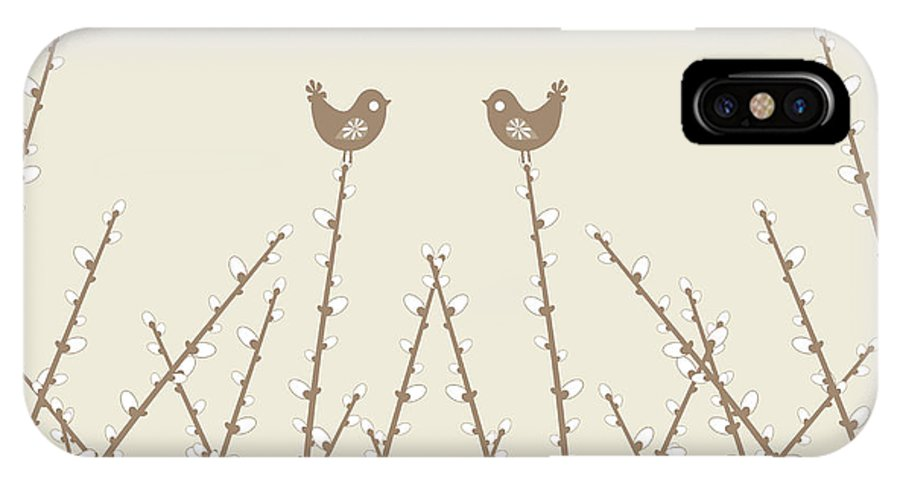 Abstract IPhone X Case featuring the photograph Spring Willow Twig And Birds by IB Photography