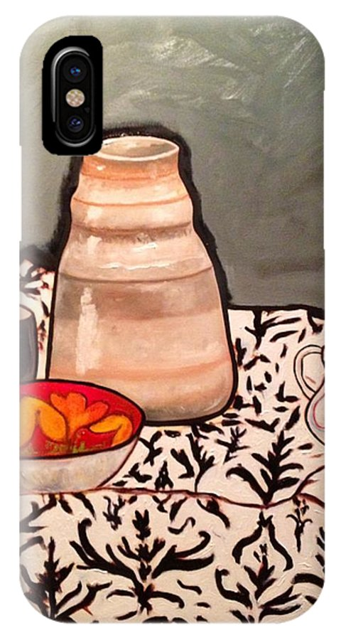 Vintage Pottery IPhone X Case featuring the painting Still Life by Sal Settecase