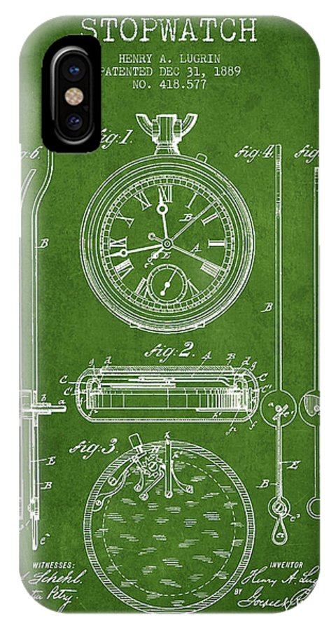 Stopwatch IPhone X Case featuring the digital art Stopwatch Patent Drawing From 1889 by Aged Pixel