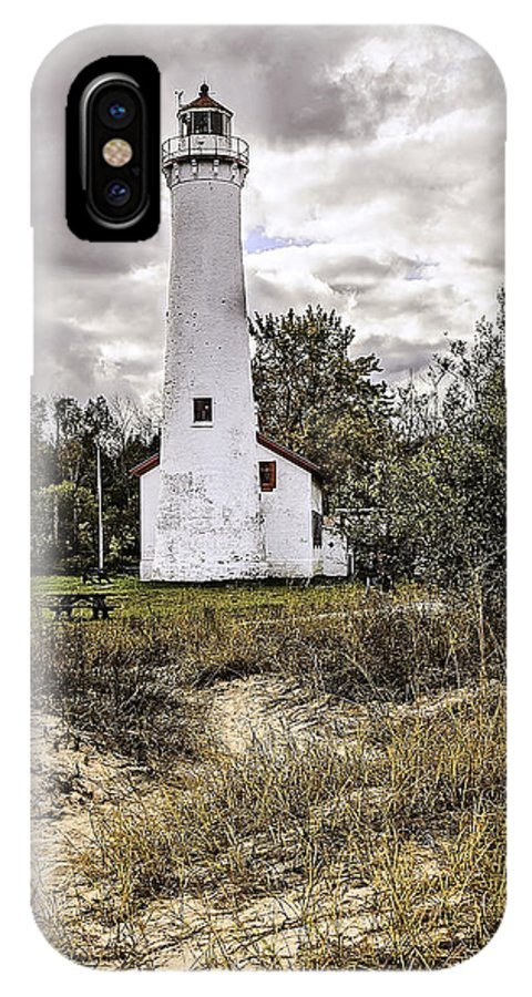 Usa IPhone X Case featuring the photograph Sturgeon Point Lighthouse by LeeAnn McLaneGoetz McLaneGoetzStudioLLCcom