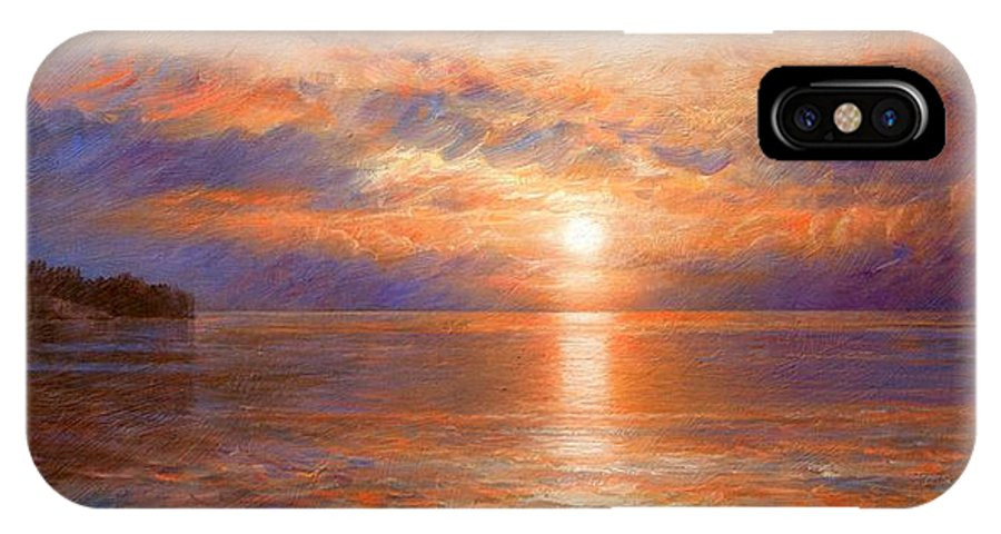 Sunset IPhone X Case featuring the painting Sunset by Arthur Braginsky