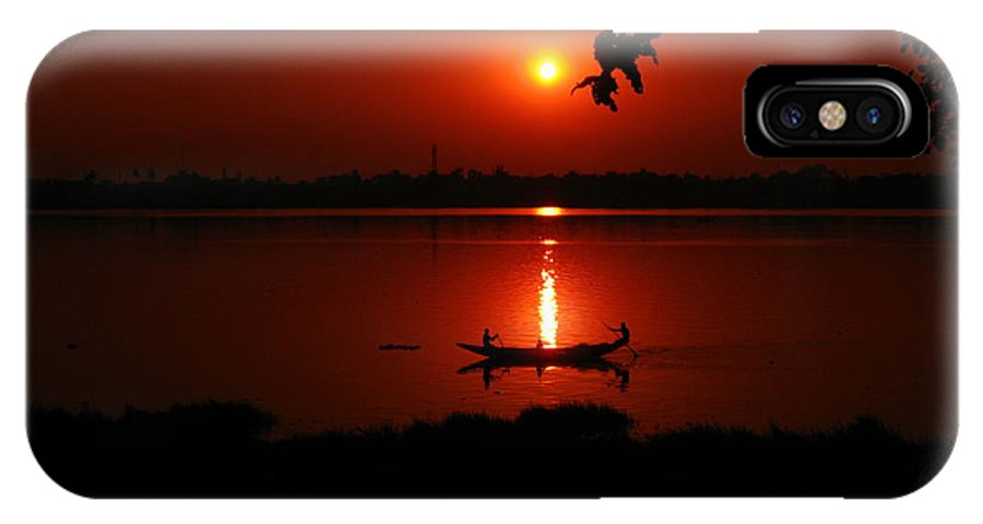 Nature IPhone X Case featuring the photograph sunset over Hoogly river by Pradipkumarpaswan