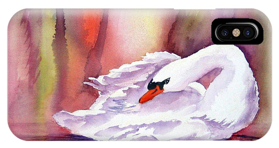 Swan IPhone X Case featuring the painting Swan by Patricia Novack