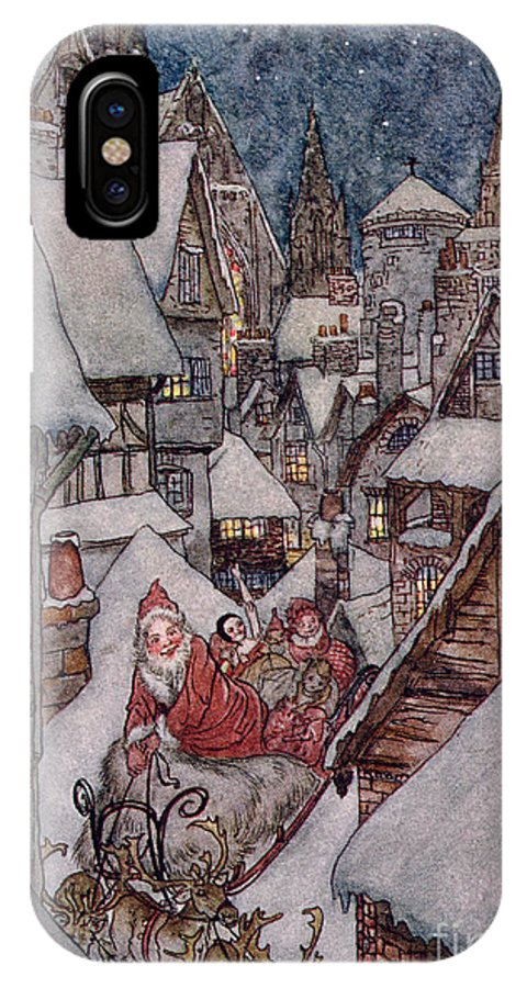 Christmas Illustrations IPhone X Case featuring the drawing 'the Night Before Christmas by Arthur Rackham