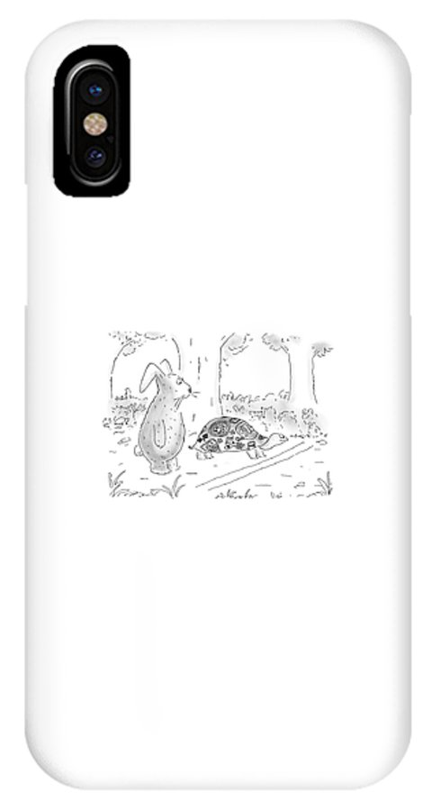 The Hare And The Tortoise IPhone X Case featuring the drawing New Yorker August 21st, 2000 by Arnie Levin