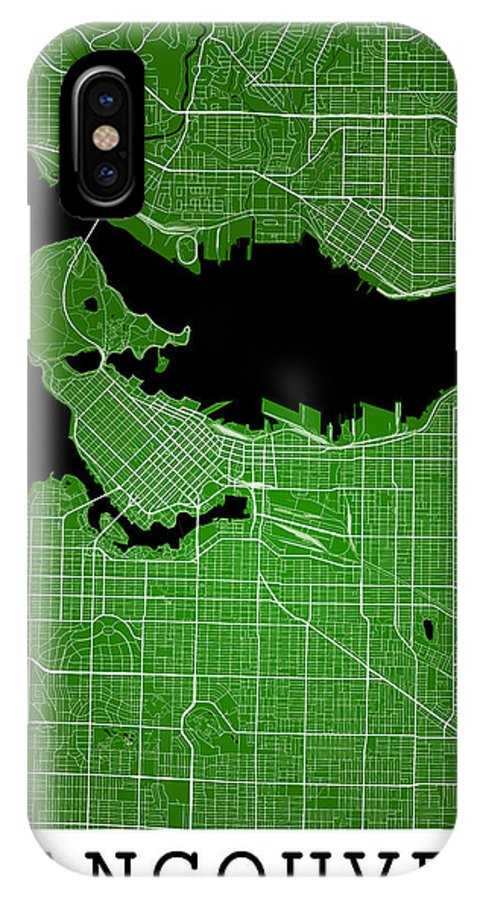 Road Map IPhone X Case featuring the digital art Vancouver Street Map - Vancouver Canada Road Map Art On Colored by Jurq Studio
