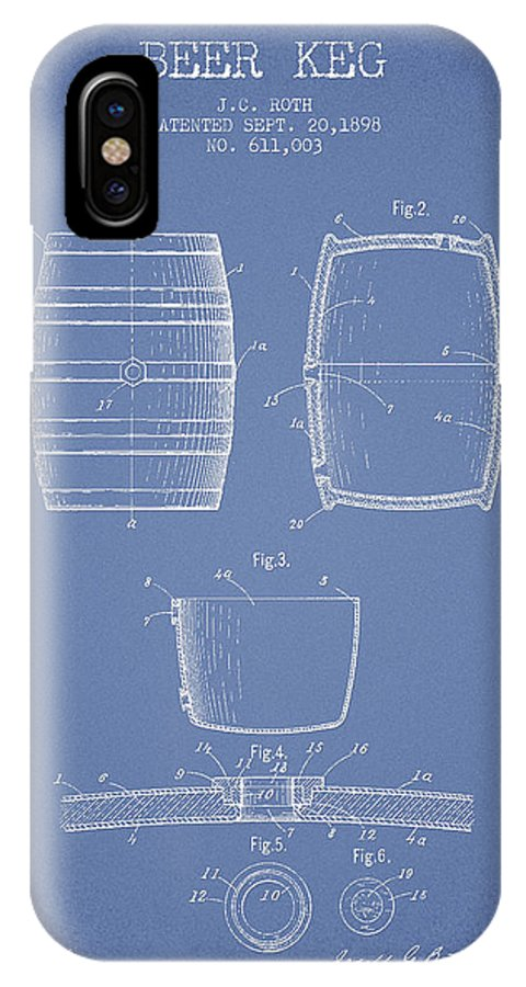 Beer Keg IPhone X Case featuring the digital art Vintage Beer Keg Patent Drawing From 1898 - Light Blue by Aged Pixel