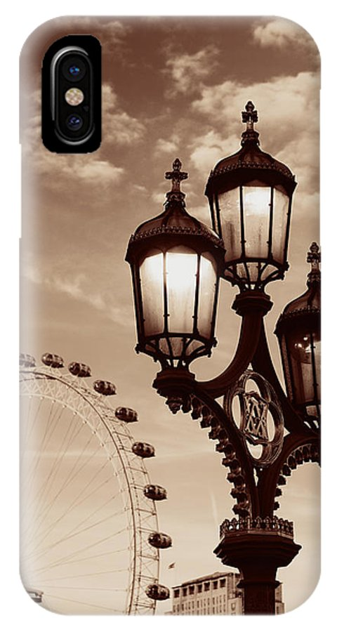 London IPhone X Case featuring the photograph Vintage Lamp Post by Songquan Deng