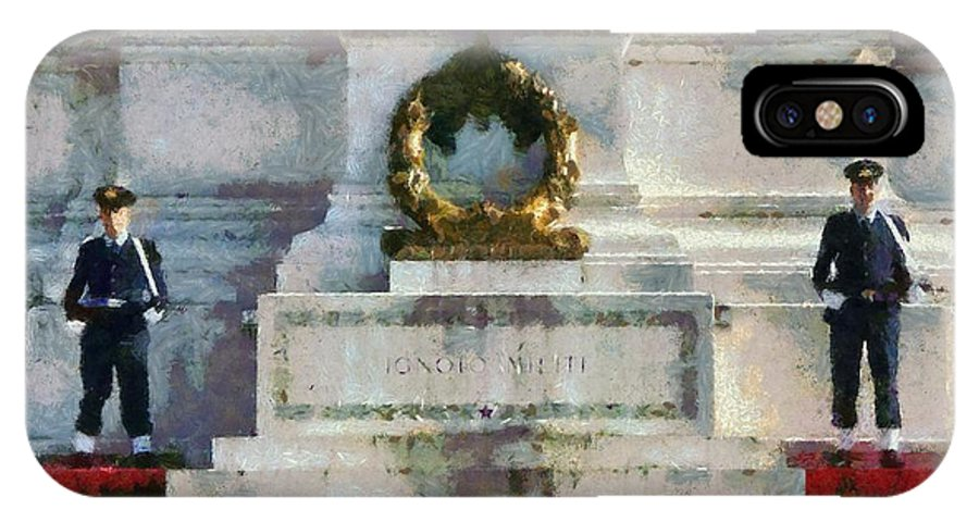 Rome IPhone X Case featuring the painting Vittorio Emanuele Monument In Rome by George Atsametakis