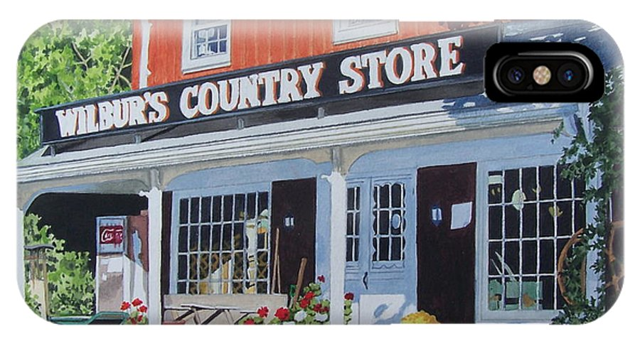 Red IPhone X Case featuring the mixed media Wilbur's Country Store by Constance Drescher