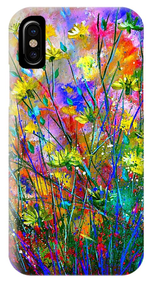 Flowers IPhone X Case featuring the painting Wild Flowers by Pol Ledent