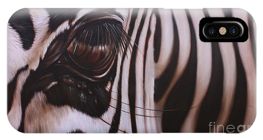 Zebra IPhone X Case featuring the painting Zebra by Ilse Kleyn