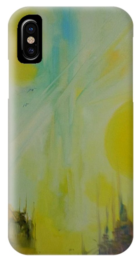 Abstract IPhone X Case featuring the painting Abstract Exhibit by Lord Frederick Lyle Morris - Disabled Veteran