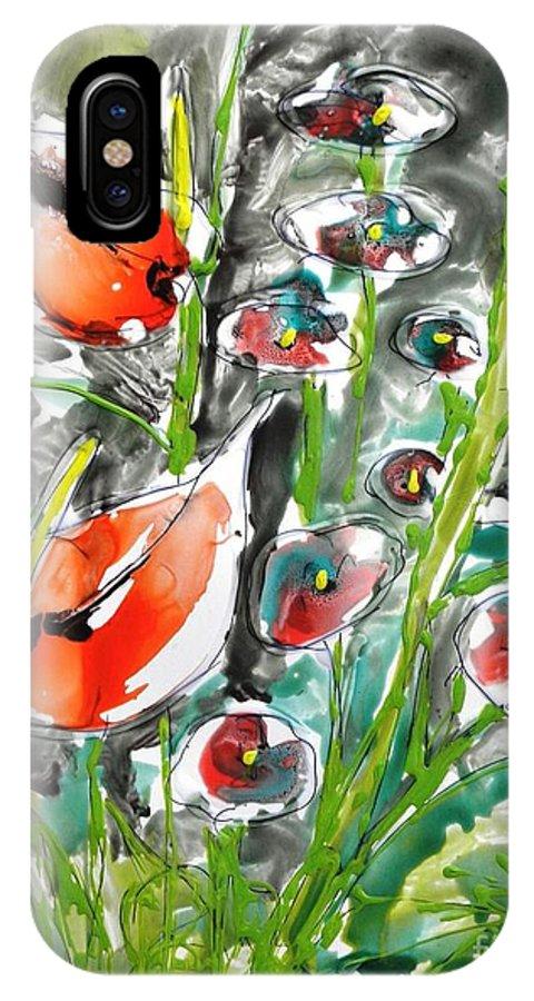 Floral IPhone X Case featuring the painting Zenmoksha Flowers by Baljit Chadha