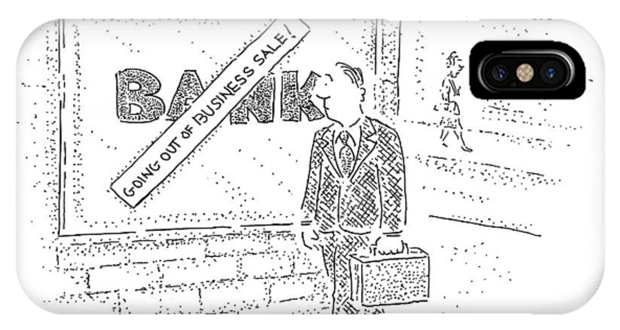 (man Walks By Bank With Sign Over It Reading IPhone X Case featuring the drawing New Yorker March 31st, 2008 by Robert Mankoff