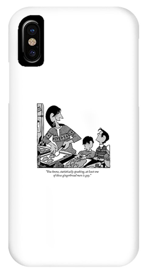 Gay IPhone X Case featuring the drawing You Know, Statistically Speaking, At Least One by William Haefeli