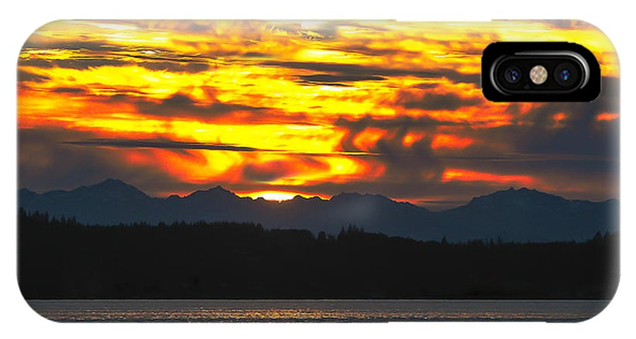 Golden IPhone X Case featuring the photograph 333 Marine Sunrise by Robert Bales