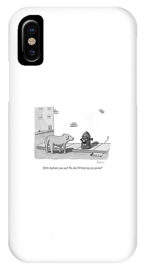Dogs IPhone X Case featuring the drawing A Fire Hydrant by Zachary Kanin