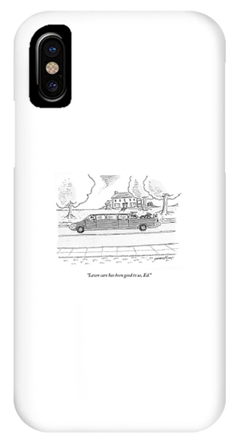 Limousine IPhone X Case featuring the drawing Lawn Care Has Been Good by Mick Stevens