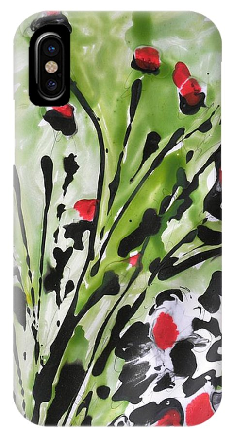 Flowers IPhone X Case featuring the painting Zenmoksha Flowers by Baljit Chadha