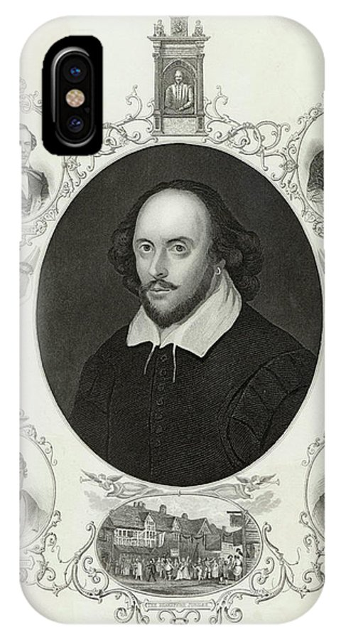 Shakespeare IPhone X Case featuring the drawing William Shakespeare (1564 - 1616) by Mary Evans Picture Library