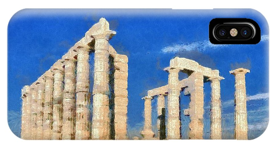 Poseidon; Neptune; God; Sea; Monument; Sounio; Sounion; Cape; Greece; Hellas; Greek; Hellenic; Europe; European; Temple; Ancient; Antiquity; Antiquities; Archaeological; Site; Pillar; Pillars; Holidays; Vacation; Travel; Trip; Voyage; Journey; Tourism; Touristic; Paint; Painting; Paintings IPhone X Case featuring the painting Poseidon Temple by George Atsametakis