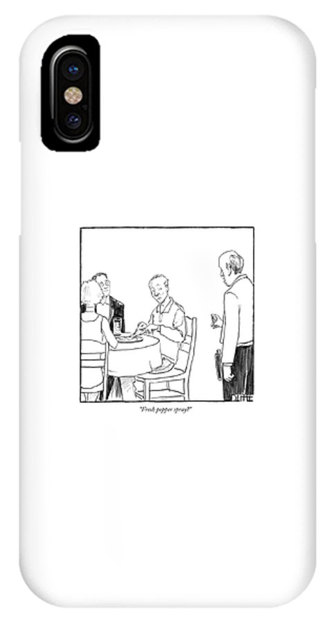 Modern IPhone X Case featuring the drawing Fresh Pepper Spray? by Matthew Diffee