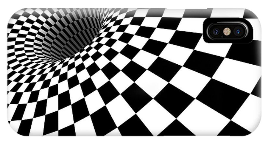3d Checkered Black Hole Angled Version Iphone X Case