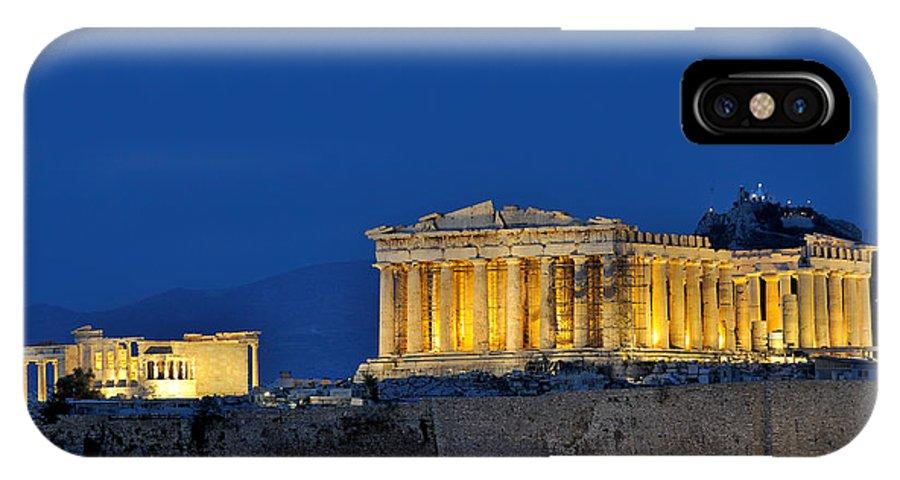 Acropolis; Acropoli; Akropoli; Akropolis; Parthenon; Erechthion; Erechtheion; Monument; Athens; City; Capital; Attica; Attika; Attiki; Greece; Hellas; Greek; Hellenic; Europe; European; Temple; Ancient; Holidays; Vacation; Travel; Trip; Voyage; Journey; Tourism; Touristic; Summer IPhone X Case featuring the photograph Acropolis Of Athens During Dusk Time by George Atsametakis