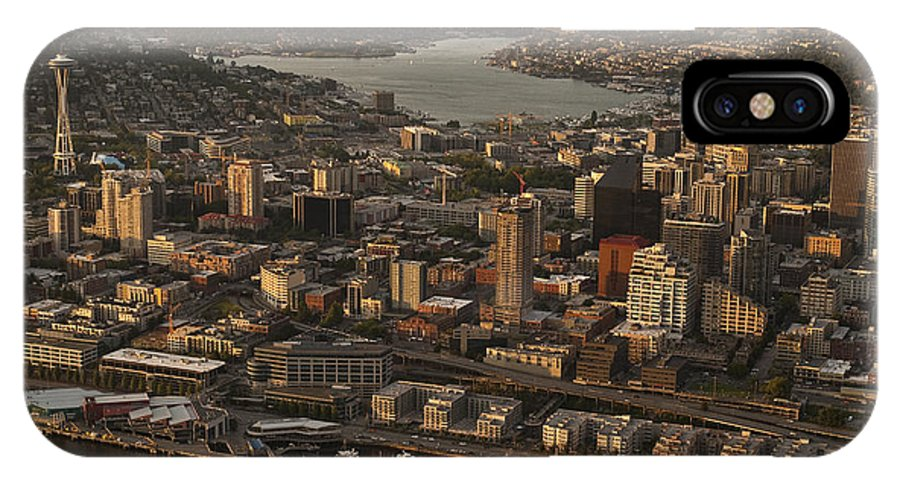 Elliott Bay IPhone X Case featuring the photograph Aerial View Of Seattle Skyline Along Waterfront by Jim Corwin